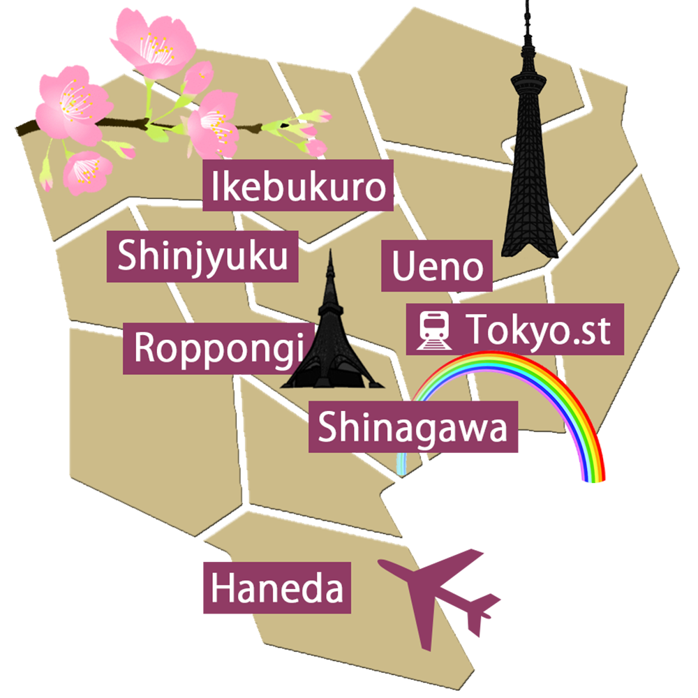 The map of 23 wards of Tokyo